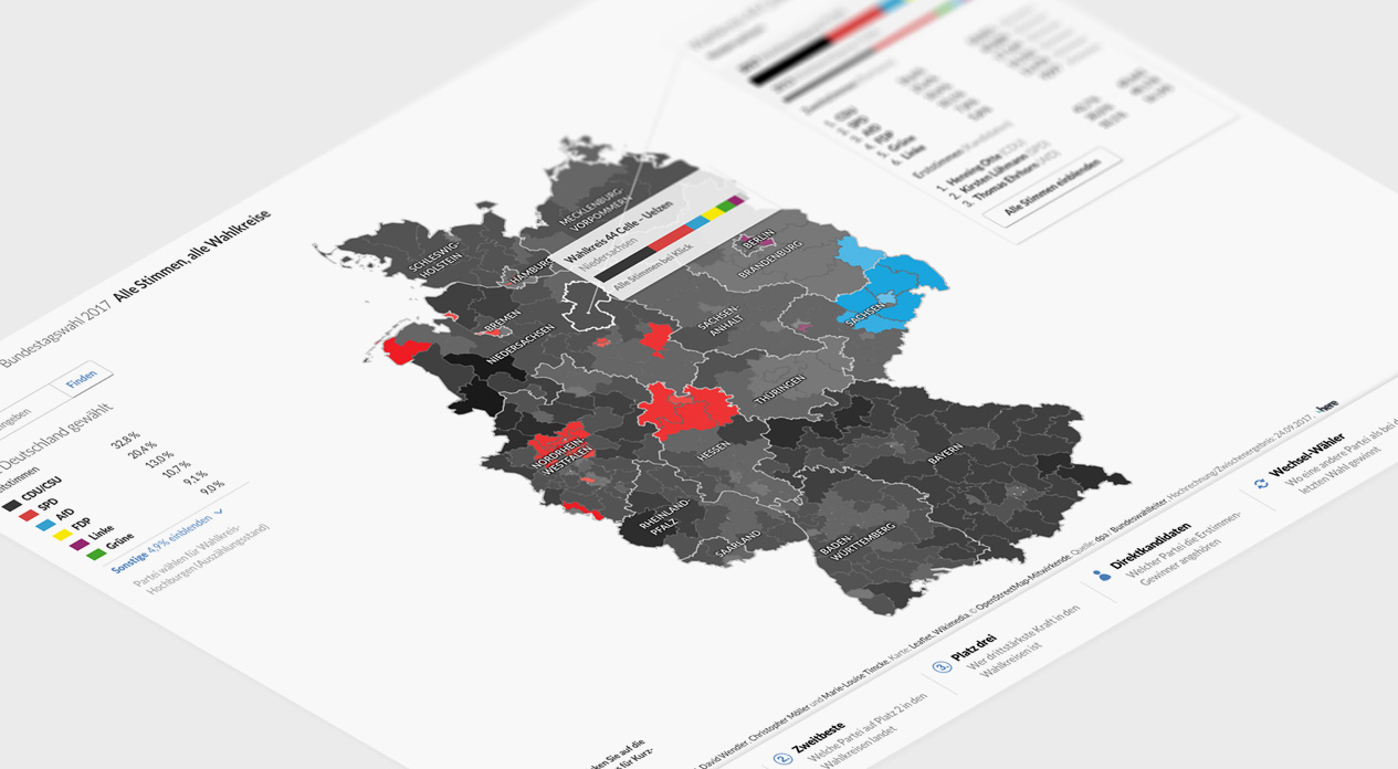 Interaktive Karte zur Bundestagswahl 2017: Ergebnisse der 299 Wahlkreise
