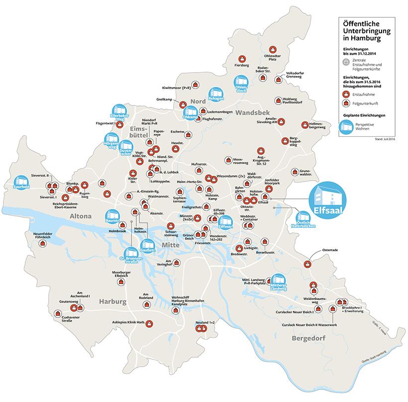 flüchtlingsunterkünfte hamburg karte Interaktive Karte: Wo die Flüchtlinge in Hamburg leben   Hamburger